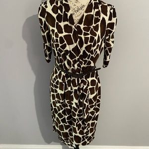 Donna Morgan Belted Animal Print Dress